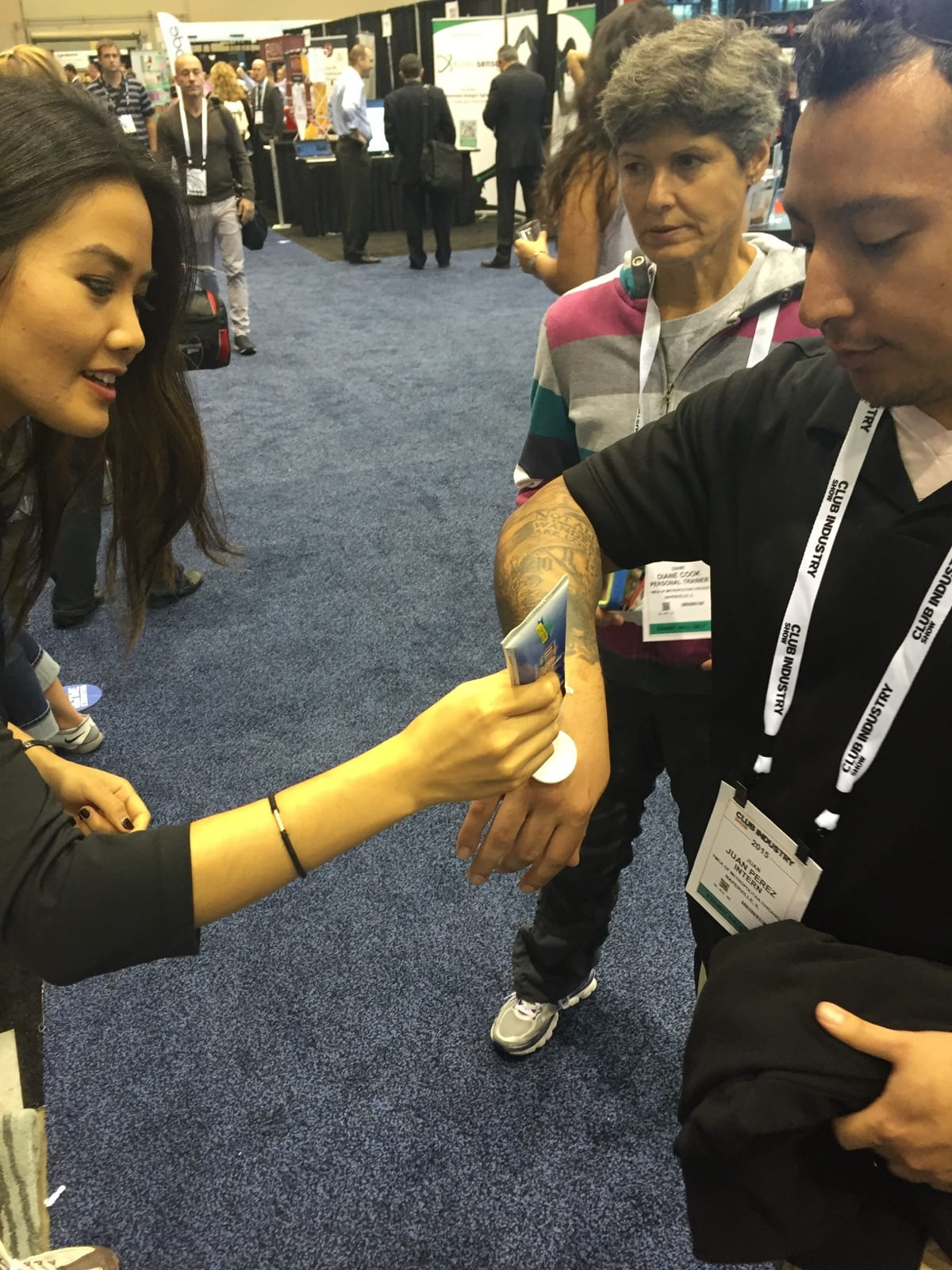 MiraFlex being put on person at Chicago Club Industry Expo 2015