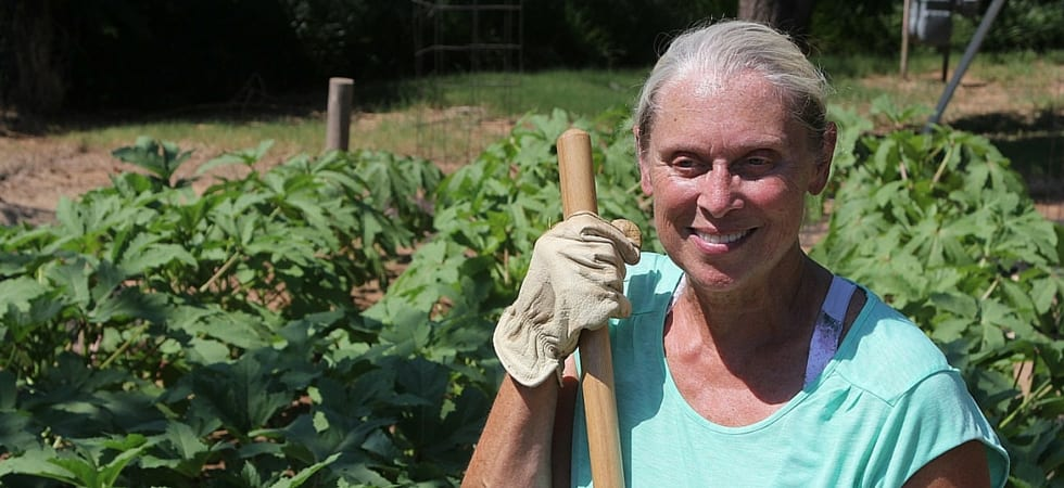 Older women outside gardening